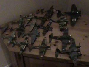 122 Over the course of several months, been building these model kits